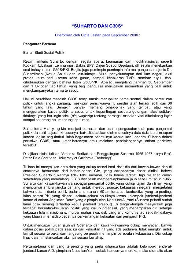 *SUHARTO DAN G30S*                    Diterbitkan oleh Cipta Lestari pada September 2000 :Pengantar PertamaBahan Studi Sos...