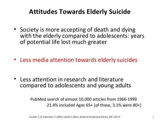 4 Attitudes Towards Elderly Suicide • Society is more accepting of death and dying with the elderly compared to adolescent...