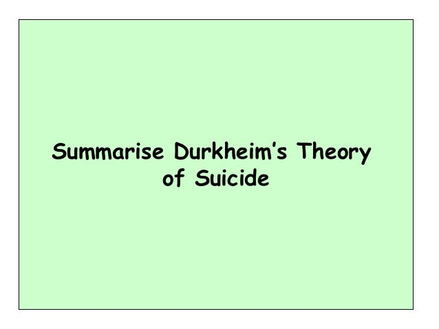 durkheims theory of suicide Durkheim's theory is formulated by four types of suicide (egoistic, altruistic, anomic, and fatalistic) that are described by the levels of social.