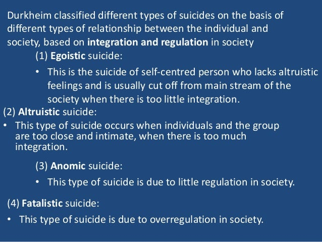durkheim and suicide essay Durkheim's reliance on statistics for calculating and comparing suicide rates was innovative for the time, as was his realization that the effects of some variables.