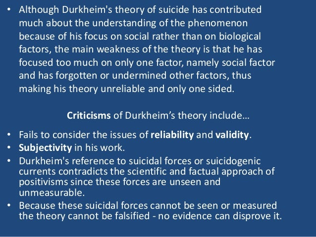 durkheim sociological issues surrounding suicide Durkheim argues that two social facts, in particular, influence suicide rates:  integration, and regulation this session will cover the views of durkheim on  topics.