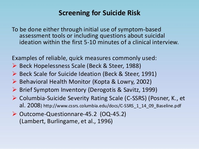 suicide risk assessment and interventions