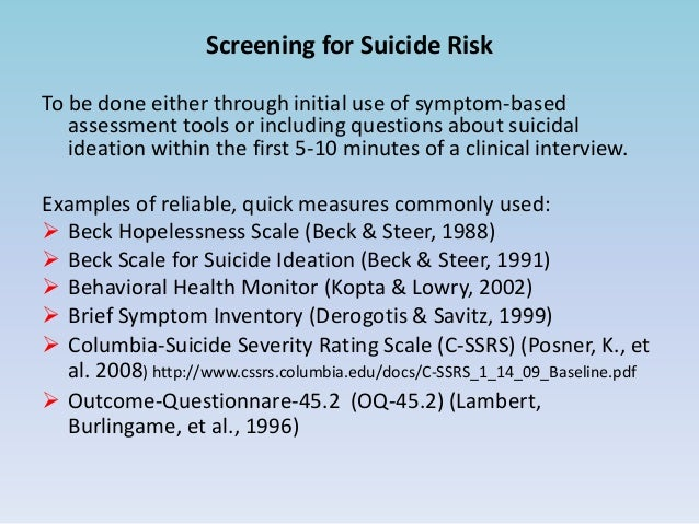 suicide risk assessment  u0026 interventions