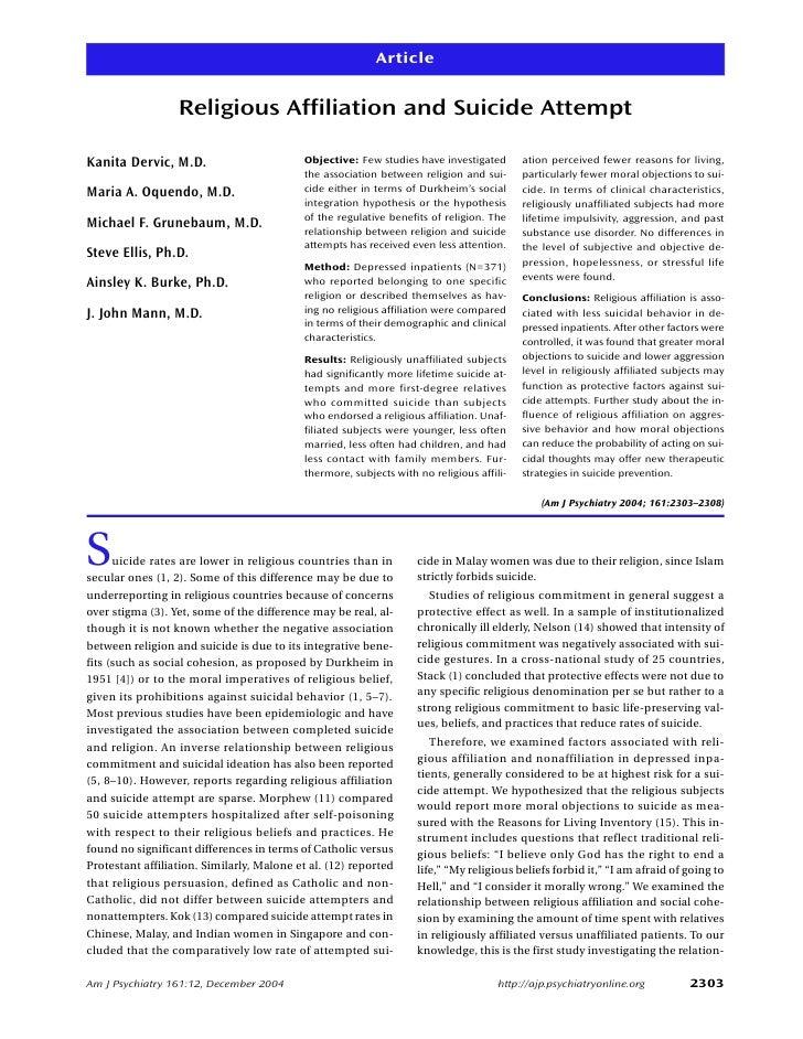 Article                     Religious Affiliation and Suicide Attempt  Kanita Dervic, M.D.                        Objectiv...
