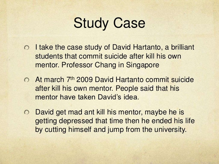 case study on suicide Research conducted within the suicidal behaviour research laboratory (sbrl)  has systematically examined the causal antecedents of self-harm and risk of.
