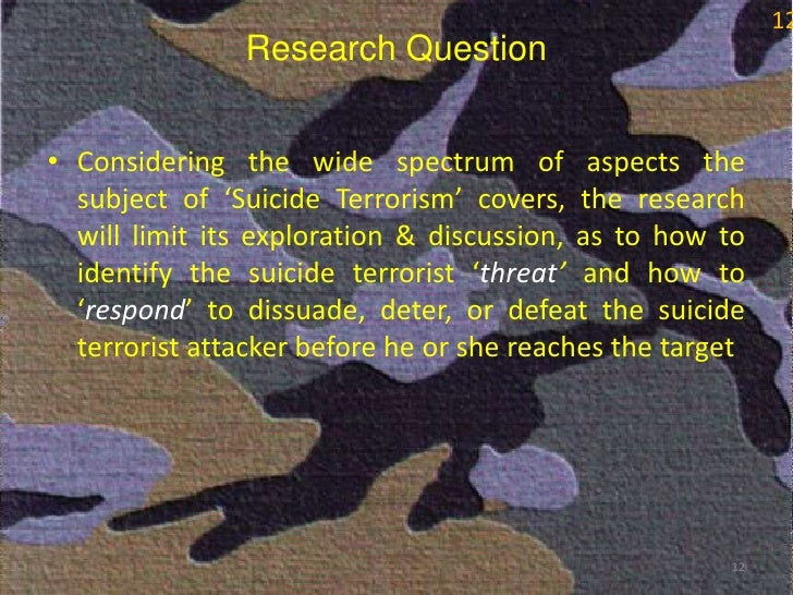 thesis on suicide terrorism This presumed connection between suicide terrorism and islamic  dr pape's  thesis is more suited to the first two cases than the last, although.