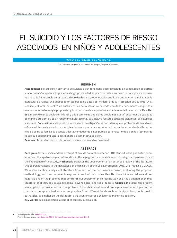 Rev.Medica.Sanitas 13 (2): 28-35, 2010       EL SUICIDIO Y LOS FACTORES DE RIESGO      ASOCIADOS EN NIÑOS Y ADOLESCENTES  ...