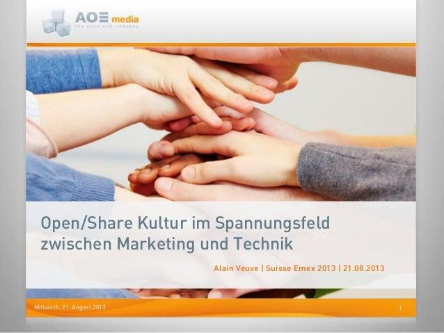 1Mittwoch, 21. August 2013 Open/Share Kultur im Spannungsfeld zwischen Marketing und Technik Alain Veuve | Suisse Emex 201...