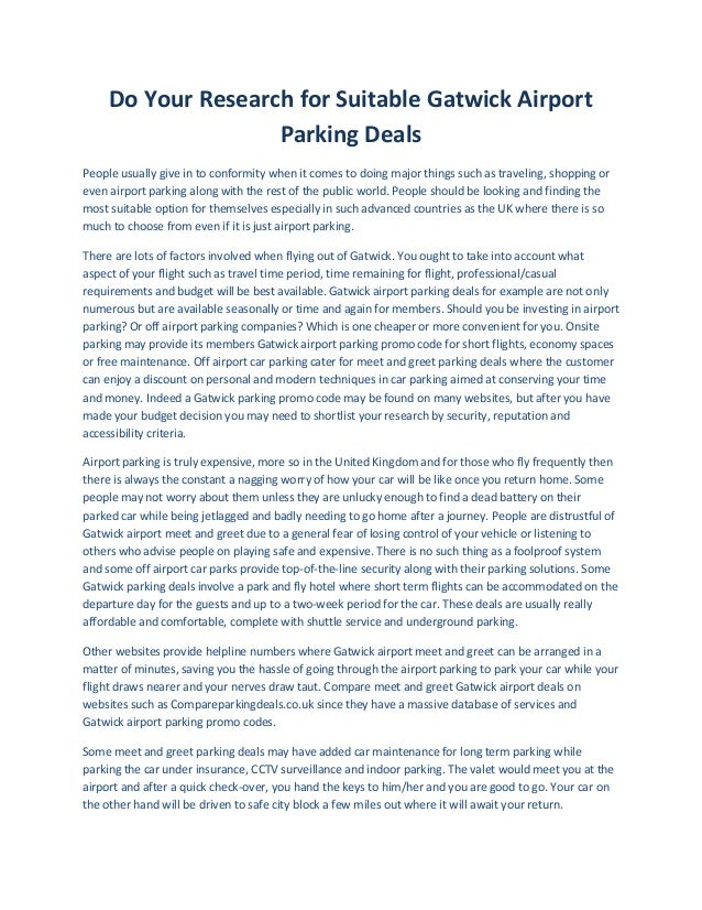 Suitable gatwick airport parking deals do your research for suitable gatwick airport parking deals people usually give in to conformity when m4hsunfo