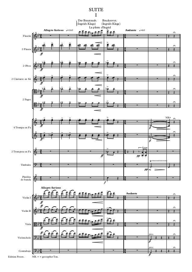 SUITE I Der Brautraub. Bruderovet. (Ingrids Klage) (Ingrids Klage) La plinte d'Ingrid Flautín  2 Flauta  Allegro furioso q...