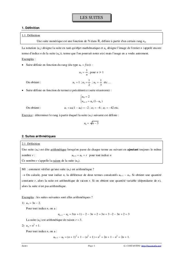 LES SUITES 1. Définition 1.1. Définition Une suite numérique est une fonction de  dans , définie à partir d'un certain r...