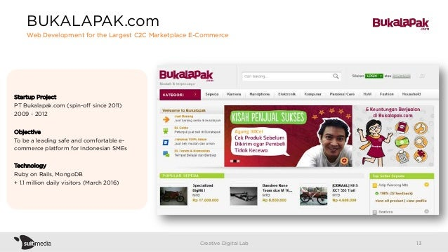 Startup Project PT Bukalapak.com (spin-off since 2011) 2009 - 2012 Objective To be a leading safe and comfortable e- commer...