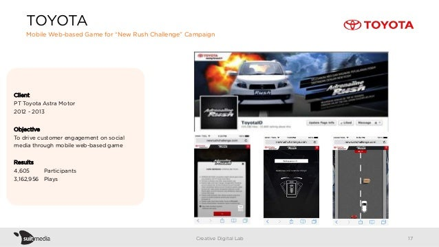 """TOYOTA Mobile Web-based Game for """"New Rush Challenge"""" Campaign Creative Digital Lab Client PT Toyota Astra Motor 2012 - 20..."""