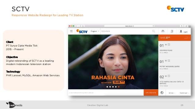 Client PT Surya Cipta Media Tbk 2015 – Present Objective Digital rebranding of SCTV as a leading modern Indonesian televis...