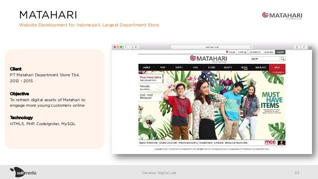 Client PT Matahari Department Store Tbk. 2012 – 2015 Objective To refresh digital assets of Matahari to engage more young ...