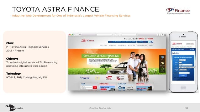 Client PT Toyota Astra Financial Services 2012 – Present Objective To refresh digital assets of TA Finance by providing in...