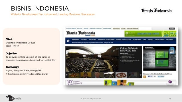 Client Business Indonesia Group 2010 - 2012 Objective To provide online version of the largest business newspaper, designe...