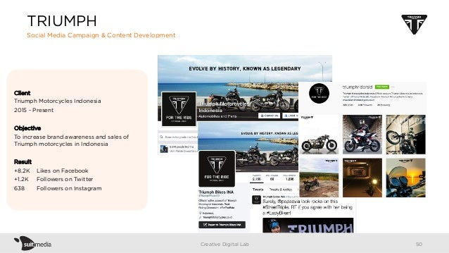 Client Triumph Motorcycles Indonesia 2015 - Present Objective To increase brand awareness and sales of Triumph motorcycles...