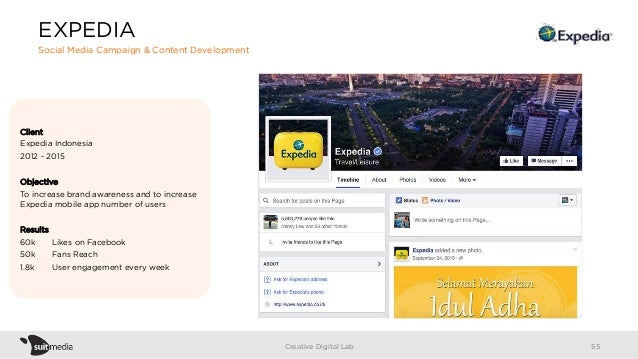 Client Expedia Indonesia 2012 - 2015 Objective To increase brand awareness and to increase Expedia mobile app number of us...