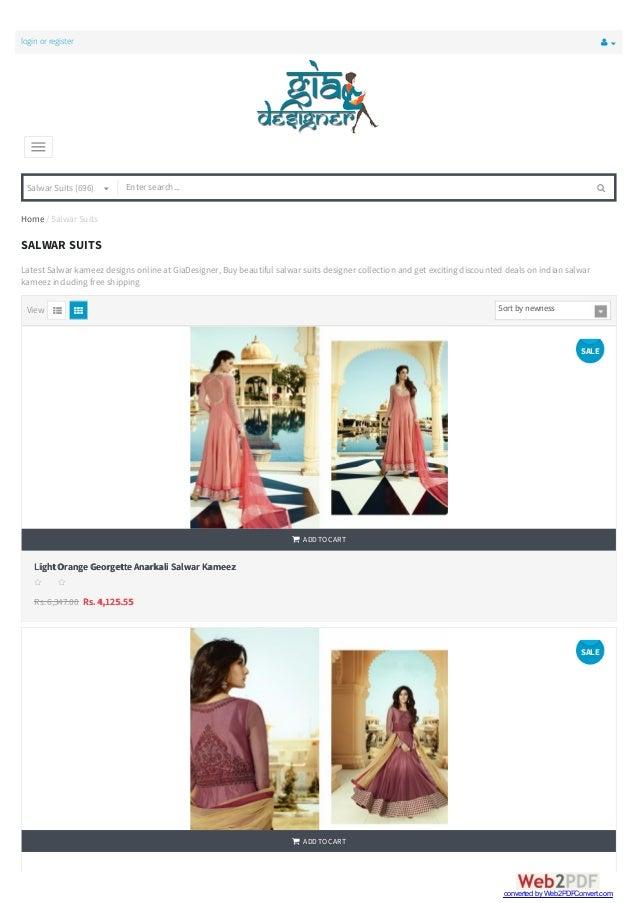login or register  Salwar Suits (696)    Home / Salwar Suits View SALWAR SUITS Latest Salwar kameez designs online at ...