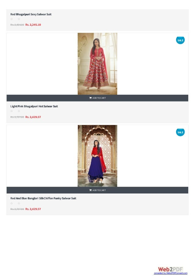   RedBhagalpuri SexySalwar Suit Rs.3,454.00 Rs. 2,245.10 s s s s s LightPink Bhagalpuri HotSalwar Suit Rs.3,737.80 Rs. 2...