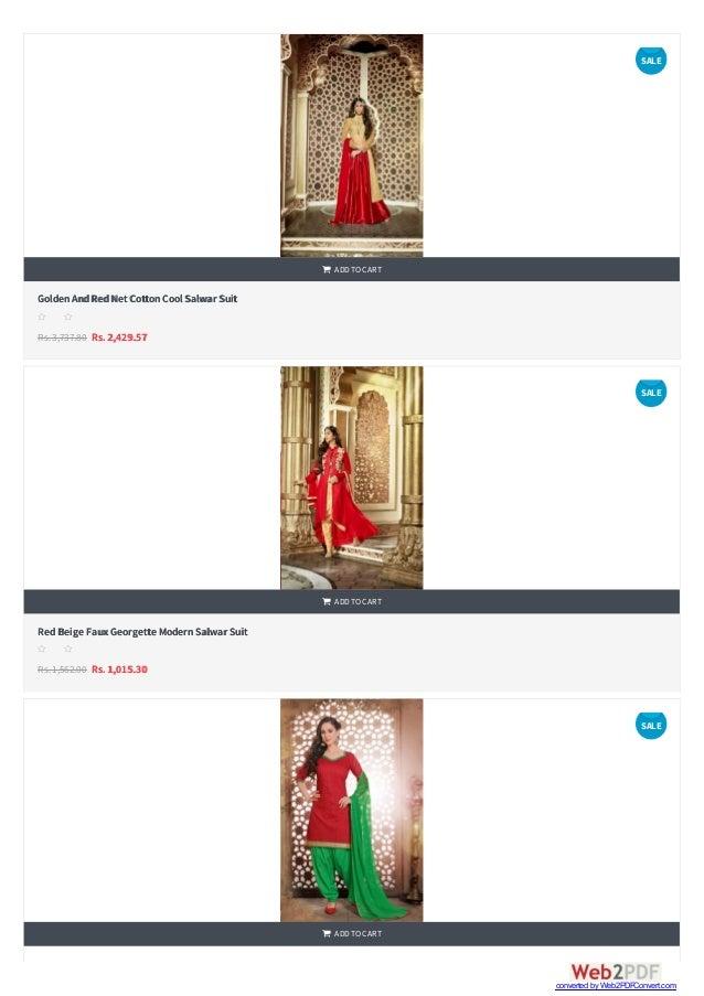    GoldenAndRedNetCottonCool Salwar Suit Rs.3,737.80 Rs. 2,429.57  ADDTOCART s s s s s RedBeige FauxGeorgette ModernSa...