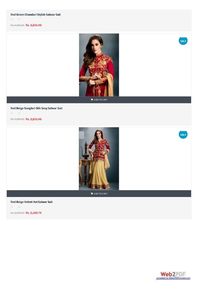   RedGreenChandari StylishSalwar Suit Rs.5,896.00 Rs. 3,832.40 s s s s s RedBeige Banglori Silk SexySalwar Suit Rs.5,896...