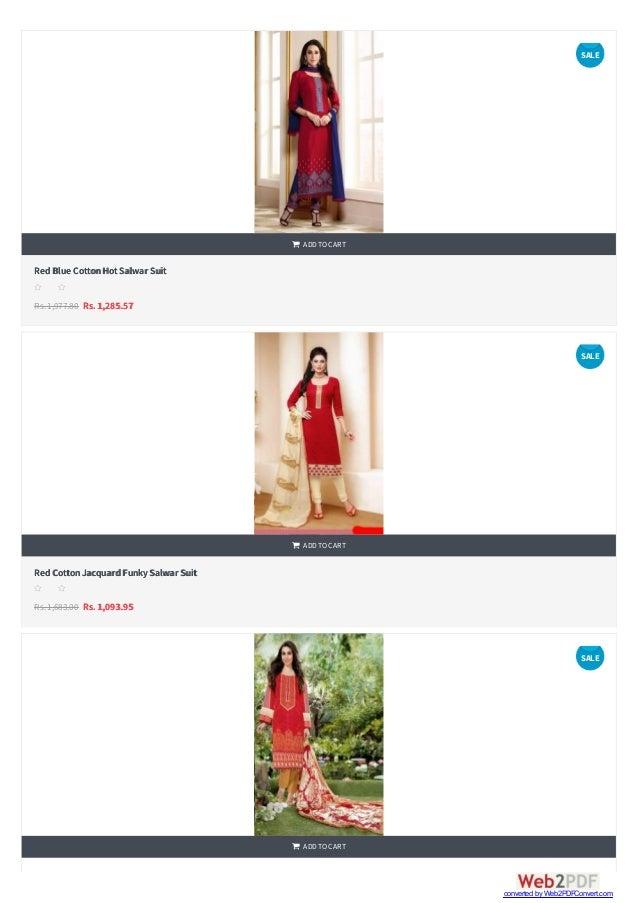    RedBlue CottonHotSalwar Suit Rs.1,977.80 Rs. 1,285.57  ADDTOCART s s s s s RedCottonJacquardFunkySalwar Suit Rs.1,6...