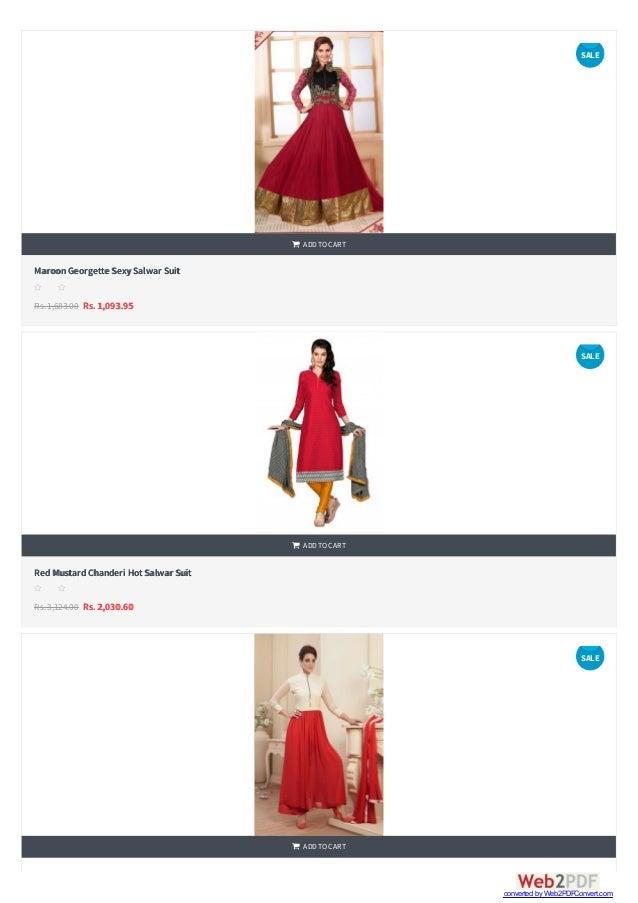    MaroonGeorgette SexySalwar Suit Rs.1,683.00 Rs. 1,093.95  ADDTOCART s s s s s RedMustardChanderi HotSalwar Suit Rs....