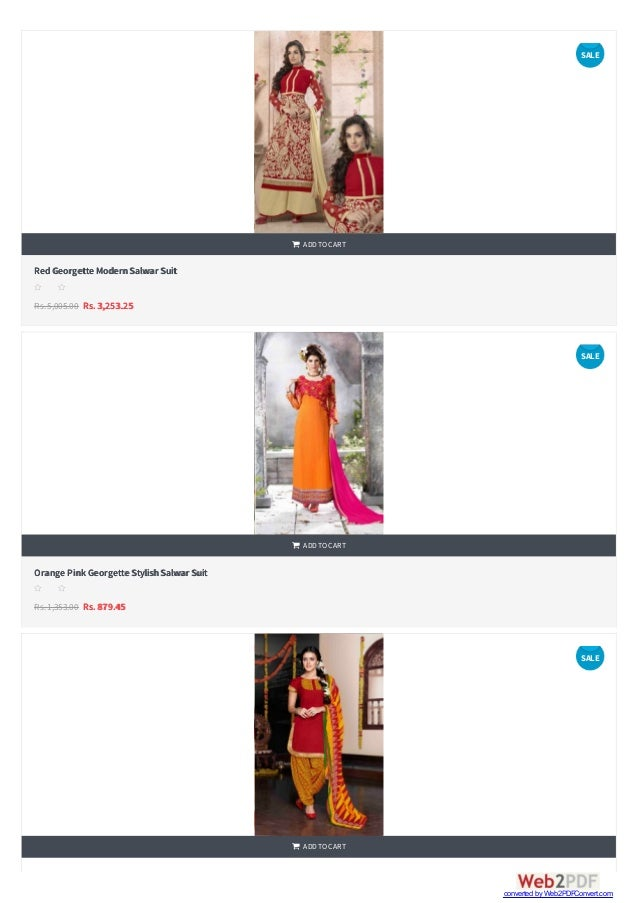    RedGeorgette ModernSalwar Suit Rs.5,005.00 Rs. 3,253.25  ADDTOCART s s s s s Orange Pink Georgette StylishSalwar Su...