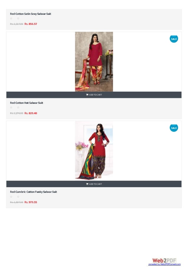   RedCottonSatinSexySalwar Suit Rs.1,317.80 Rs. 856.57 s s s s s RedCottonHotSalwar Suit Rs.1,276.00 Rs. 829.40  ADDTOC...