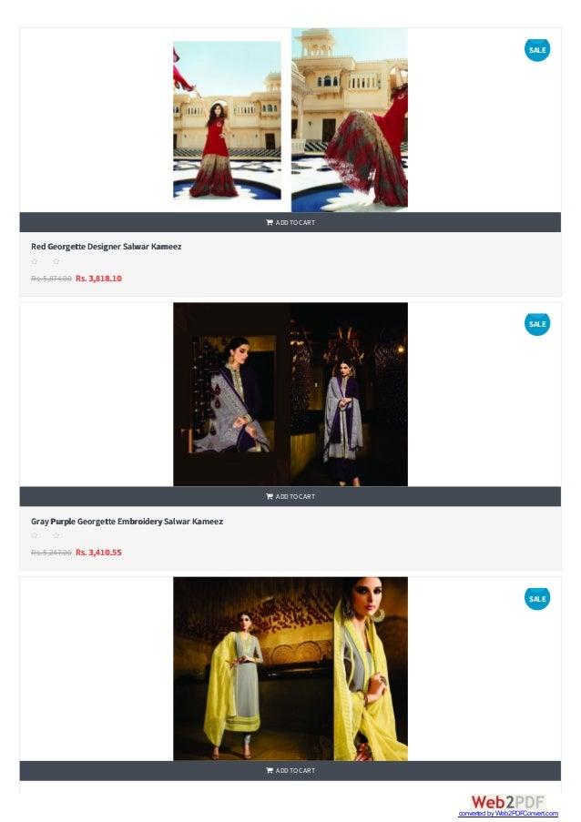    RedGeorgette Designer Salwar Kameez Rs.5,874.00 Rs. 3,818.10  ADDTOCART s s s s s GrayPurple Georgette EmbroiderySa...