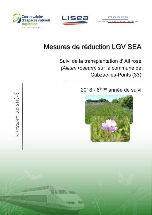 TARTARY P. 2018. Suivi de la transplantation des pieds d'Ail rose (Allium roseum L.) sur la commune de Cubzac- les-Ponts d...