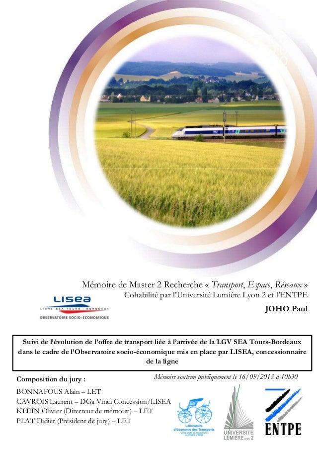 Page | 0 - Mémoire de Master 2 Recherche « Transport, Espace, Réseaux » Cohabilité par l'Université Lumière Lyon 2 et l'EN...