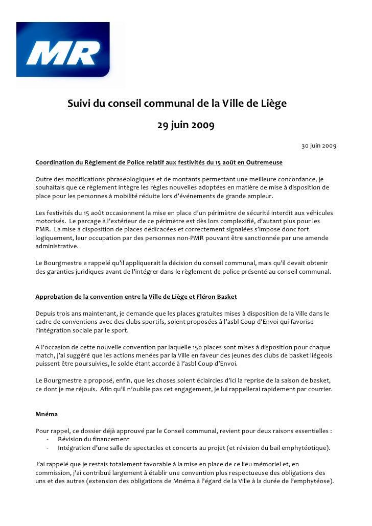 Suivi du conseil communal de la Ville de Liège                                            29 juin 2009                    ...