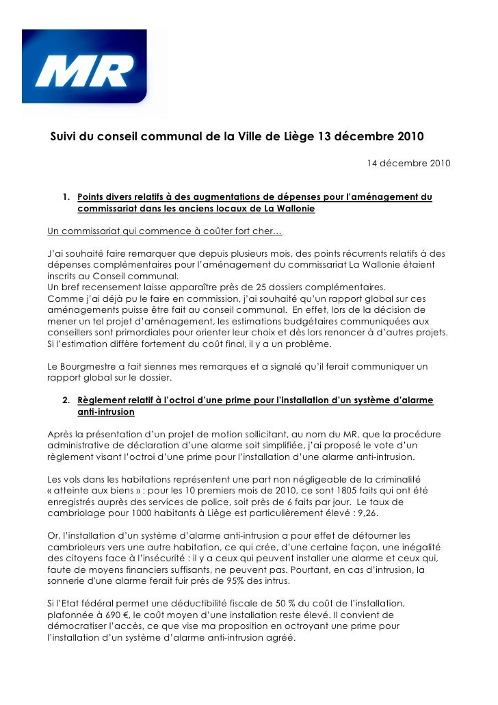 Suivi du conseil communal de la Ville de Liège 13 décembre 2010                                                           ...