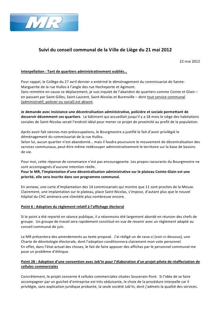 Suivi du conseil communal de la Ville de Liège du 21 mai 2012                                                             ...