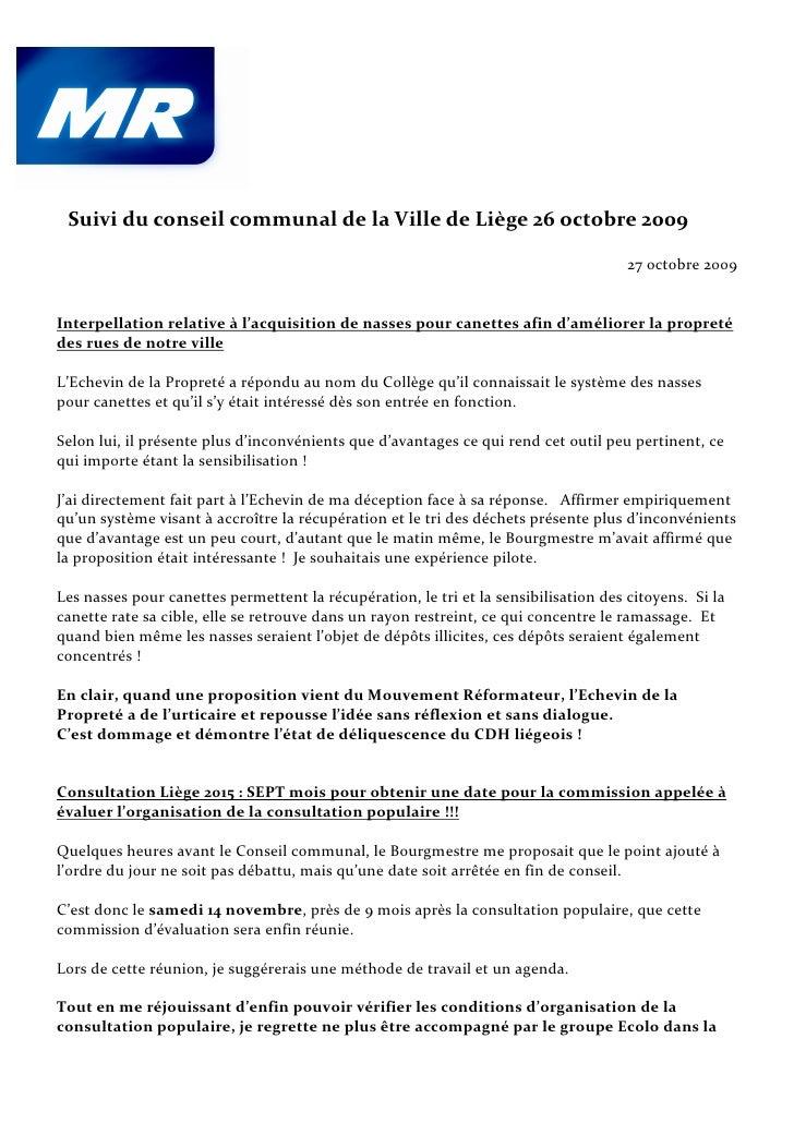 Suivi du conseil communal de la Ville de Liège 26 octobre 2009                                                            ...