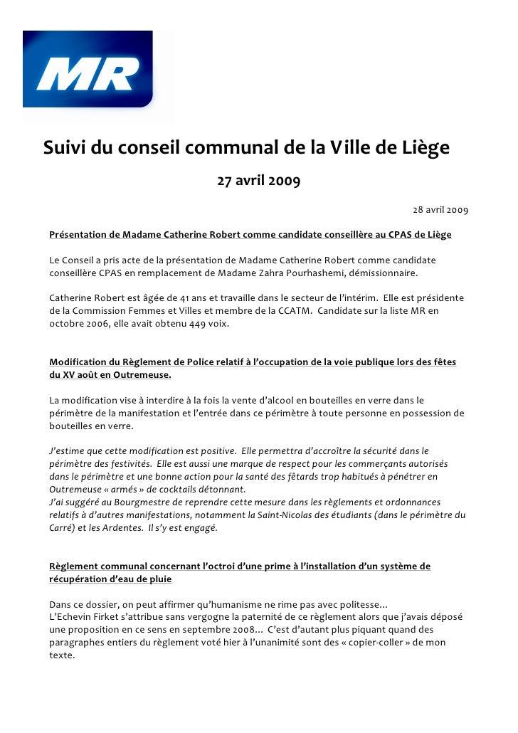 Suivi du conseil communal de la Ville de Liège                                        27 avril 2009                       ...