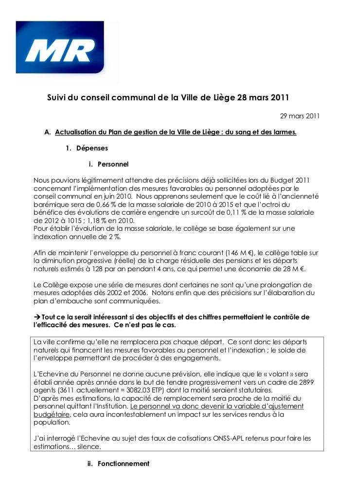 Suivi du conseil communal de la Ville de Liège 28 mars 2011                                                               ...