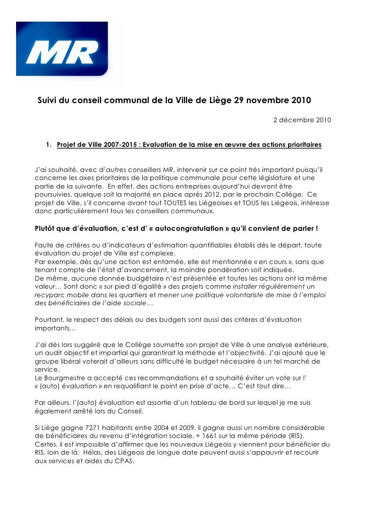 Suivi du conseil communal de la Ville de Liège 29 novembre 2010                                                           ...
