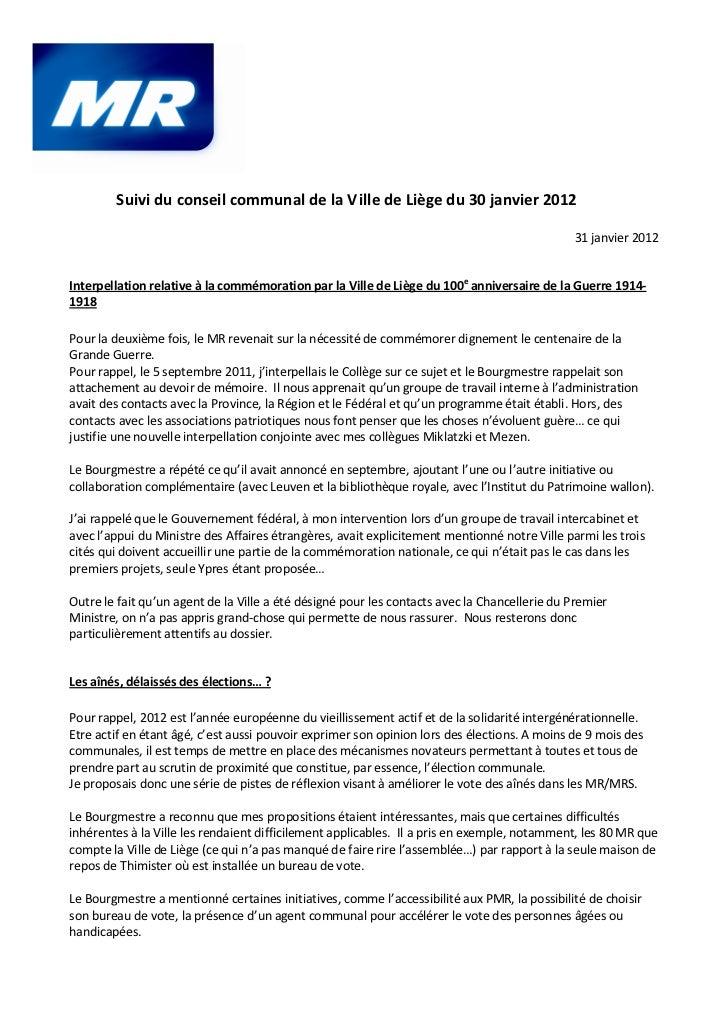 Suivi du conseil communal de la Ville de Liège du 30 janvier 2012                                                         ...