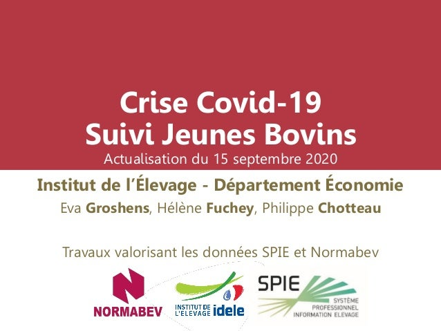 Crise Covid-19 Suivi Jeunes Bovins Actualisation du 15 septembre 2020 Institut de l'Élevage - Département Économie Eva Gro...