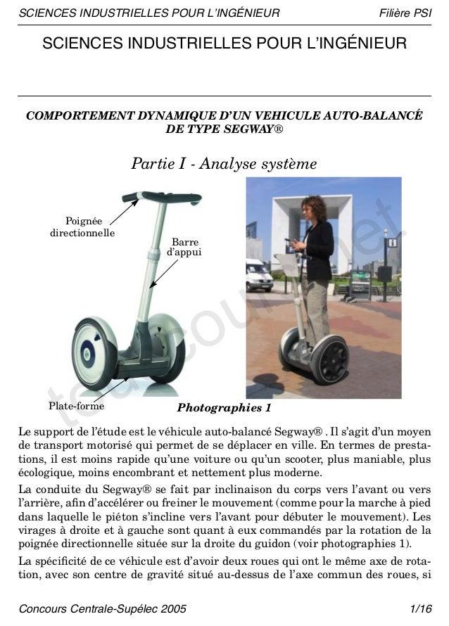 SCIENCES INDUSTRIELLES POUR L'INGÉNIEUR                               Filière PSI    SCIENCES INDUSTRIELLES POUR L'INGÉNIE...