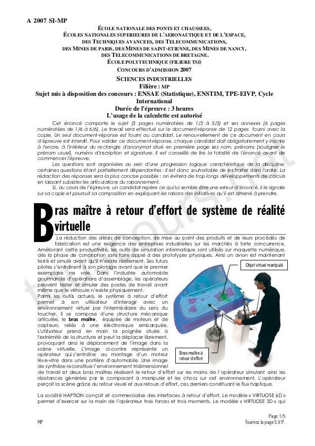 A 2007 SI-MP                          ÉCOLE NATIONALE DES PONTS ET CHAUSSEES,              ÉCOLES NATIONALES SUPERIEURES D...