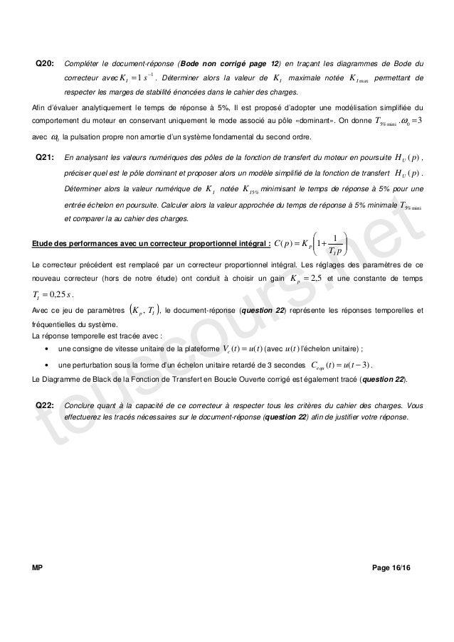 Q20:         Compléter le document-réponse (Bode non corrigé page 12) en traçant les diagrammes de Bode du                ...