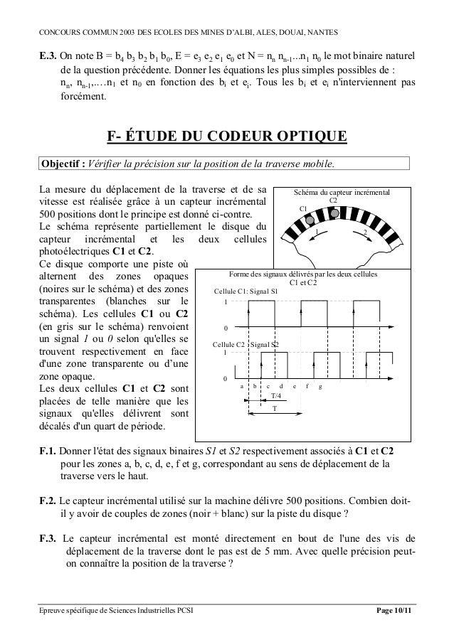 CONCOURS COMMUN 2003 DES ECOLES DES MINES D'ALBI, ALES, DOUAI, NANTESE.3. On note B = b4 b3 b2 b1 b0, E = e3 e2 e1 e0 et N...