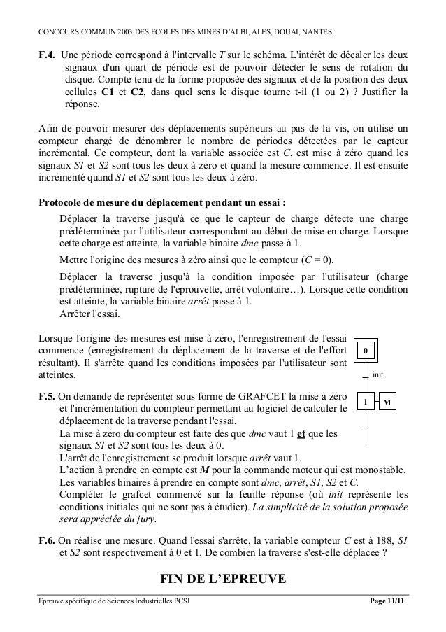 CONCOURS COMMUN 2003 DES ECOLES DES MINES D'ALBI, ALES, DOUAI, NANTESF.4. Une période correspond à lintervalle T sur le sc...