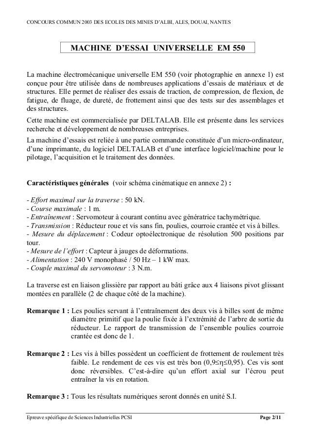 CONCOURS COMMUN 2003 DES ECOLES DES MINES D'ALBI, ALES, DOUAI, NANTES                    MACHINE D'ESSAI UNIVERSELLE EM 55...