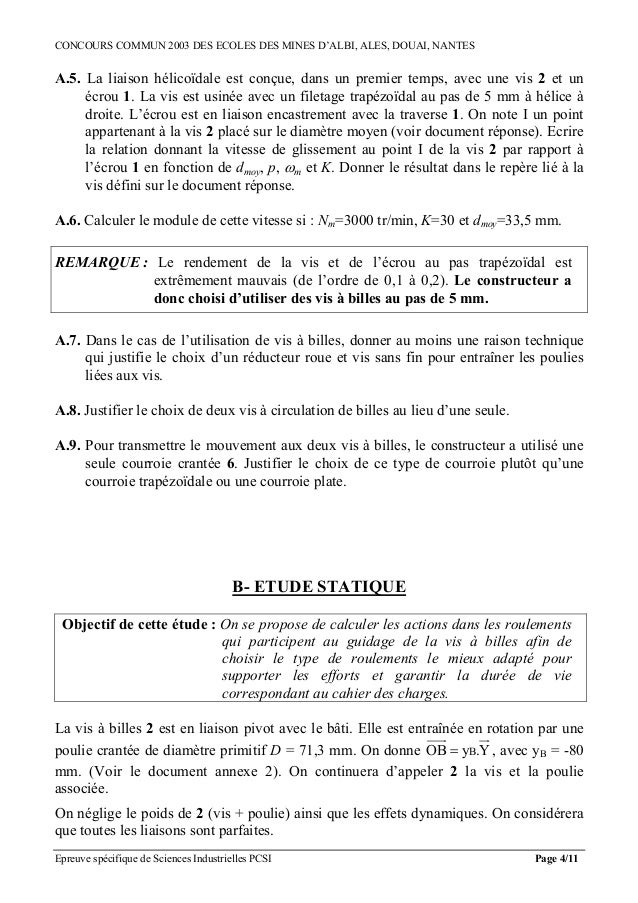 CONCOURS COMMUN 2003 DES ECOLES DES MINES D'ALBI, ALES, DOUAI, NANTESA.5. La liaison hélicoïdale est conçue, dans un premi...